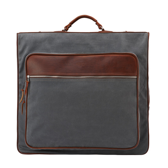 high quality canvas garment suit cover bag with leather trim