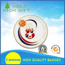High quality cheap christmas gift custom zinc alloy casting white snowflake flashing badges no moq