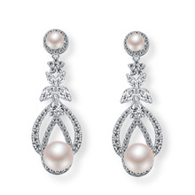 Wedding door gift hollow out latest design of pearl earrings wholesale body jewelry in china