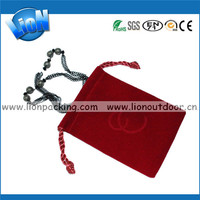 red custom velvet drawstring pouch bag with hot stamping