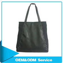 2014 Fashion black plain pu leather women shopping tote shoulder bag with handmade braided details