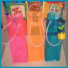 Design Printed Various Color Transparent PVC Plastic Carrying Wine Beer Bottle Ice cooler Bag with resonable price