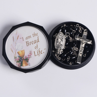Rosay Packing Box Religious Gift Black Round Shape Box Saint Picture Customed Plastic Jewelry Rosary Box