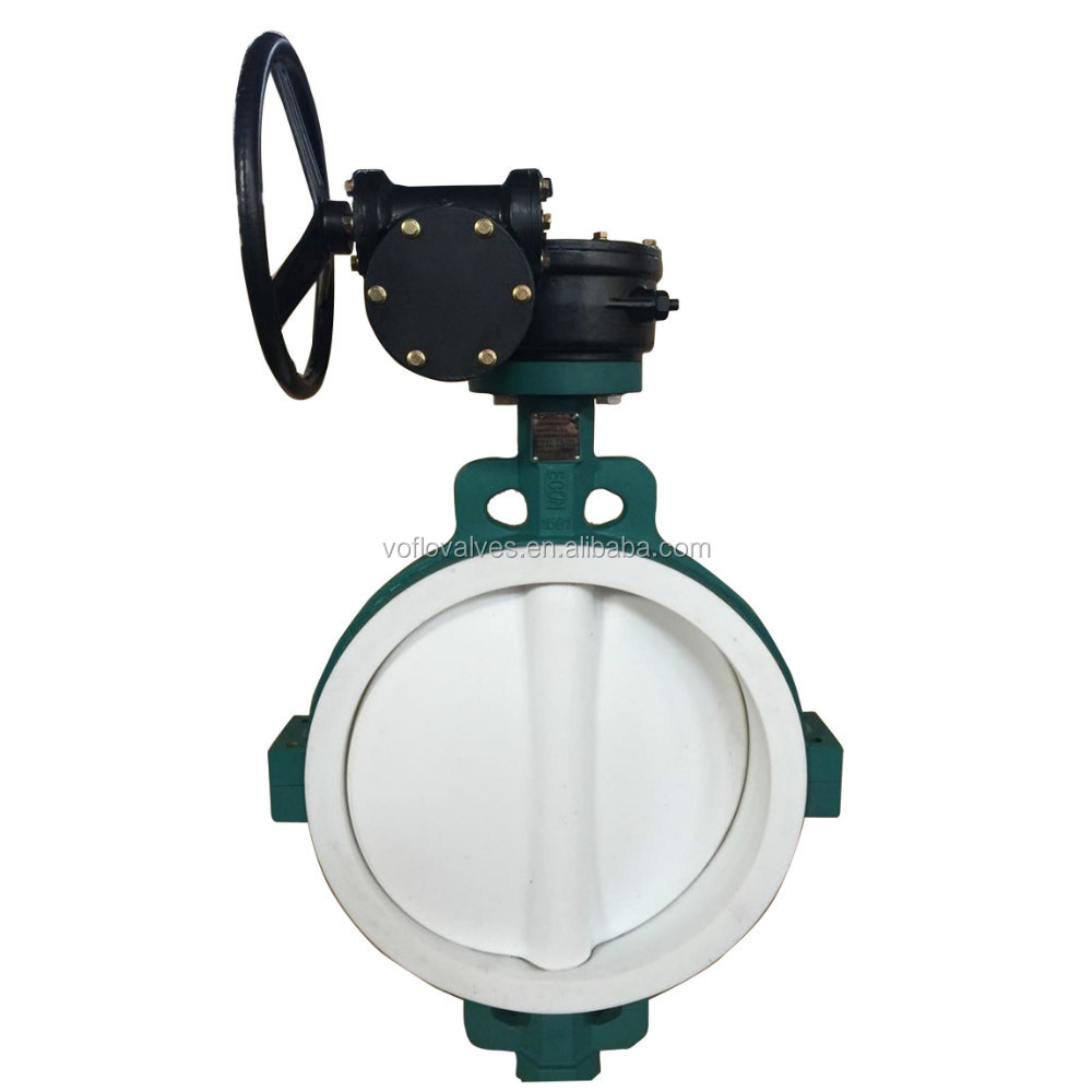 Ductile iron /WCB Lug Wafer Type Full PTFE Lined Butterfly Valve