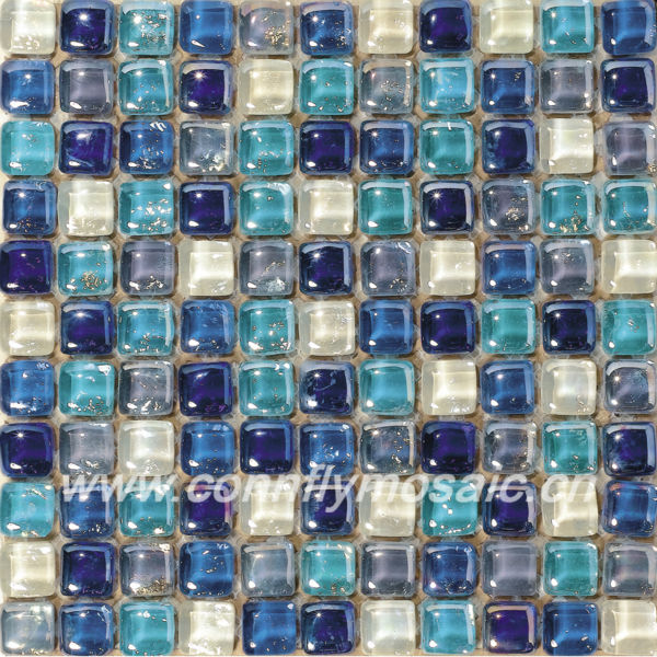 Lovely Candy Like Round Blue Glass Mosaic Tile
