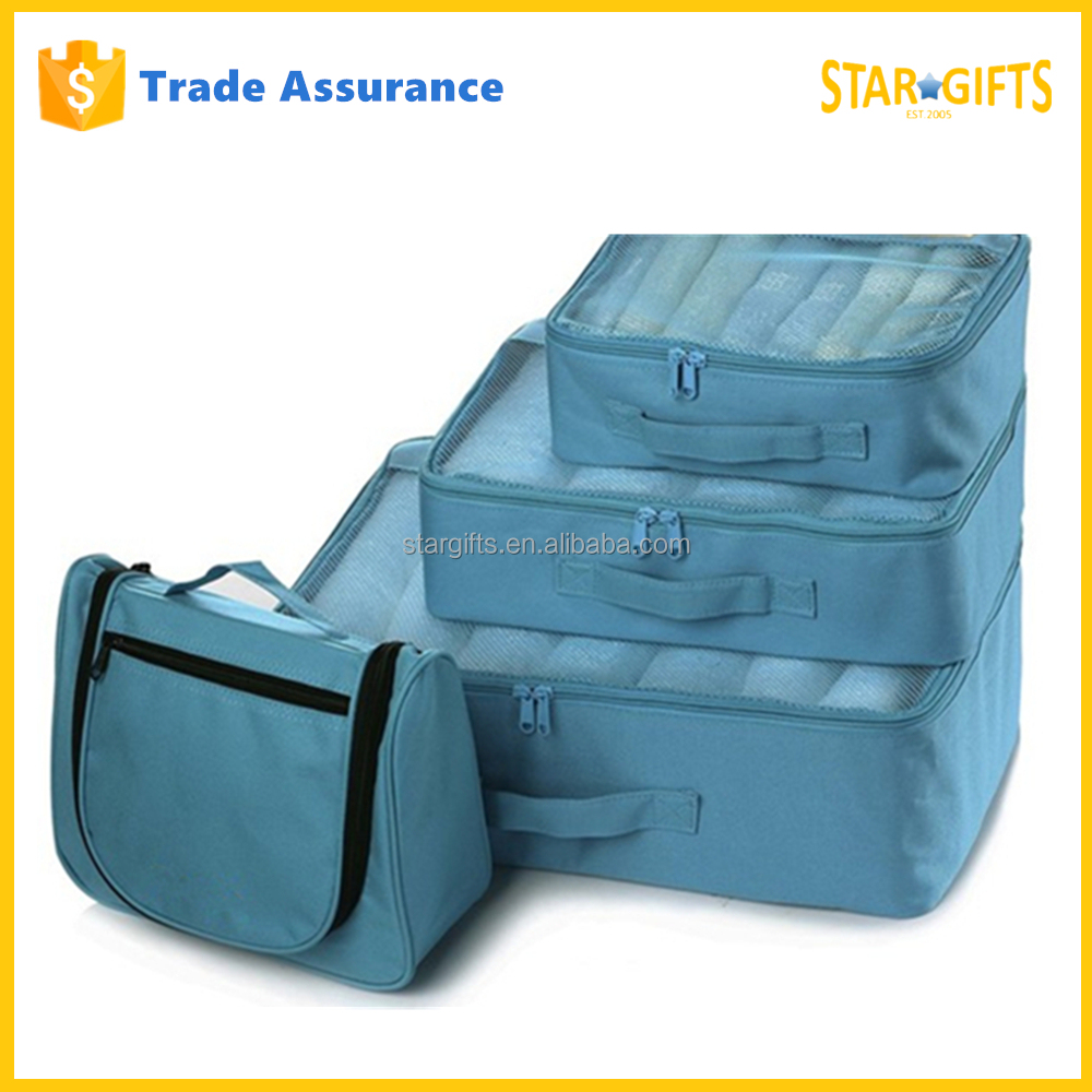 China Manufacturer Custom Foldable Travel Luggage Bag Set With One Toiletry Bag