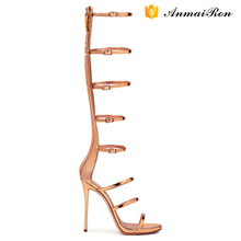 Fashion Sexy High Quality Women Knee Thigh High Heel Gladiator Sandals Boots