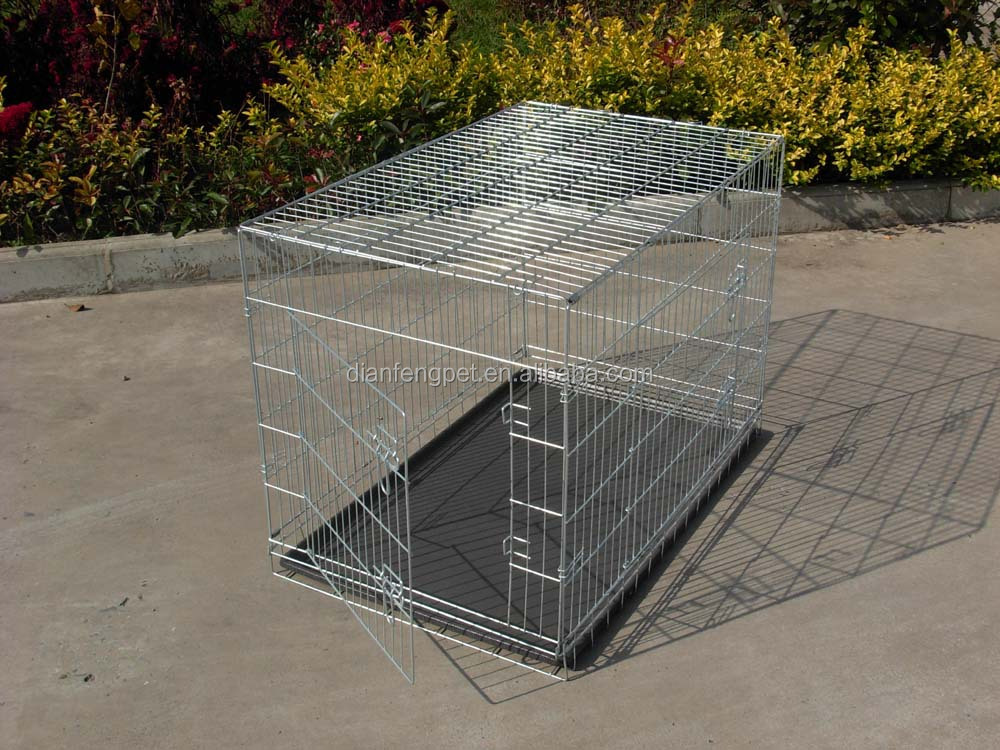 china galvanized steel iron wire large double heavy duty dog cage for sale cheap