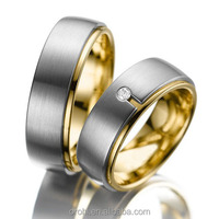 Gold Diamond-Accent Wedding Band Titanium Tungsten Steel Wedding Bands Wholesale Factory Cost