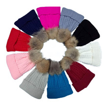 Fashion design knitted hats with ball top winter hat wholesale