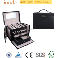 High-end classic black leather luxury cosmetic cases