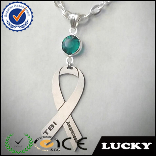 Stainless steel crystal breast cancer awareness necklace,metal ribbon necklace