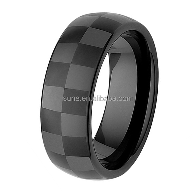 8MM Mens Jewelry Grade Black Ceramic Checkered Racing Ring