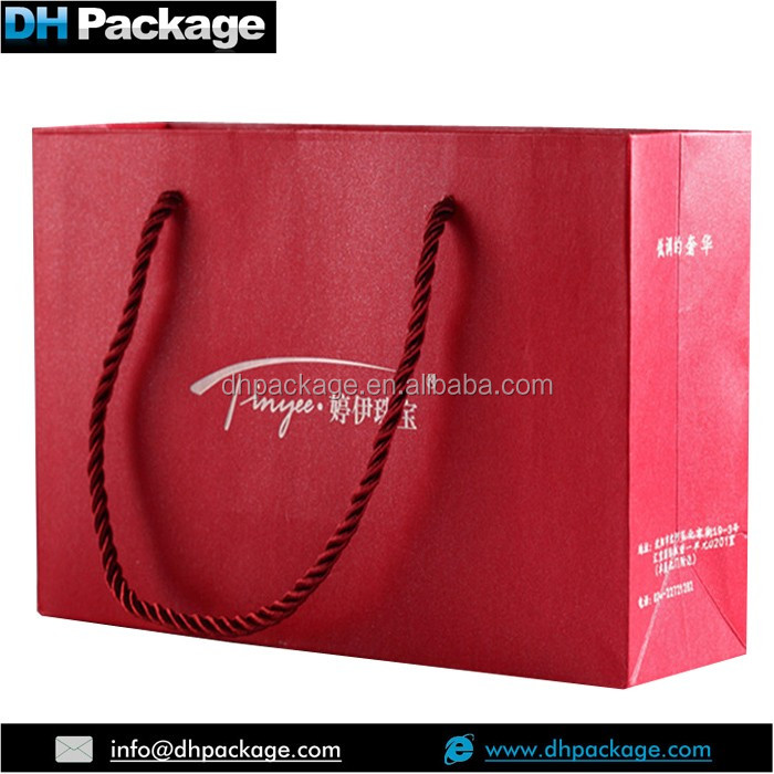 Factory Direct High Quality Luxury Red Pearled Jewelry Paper Bag