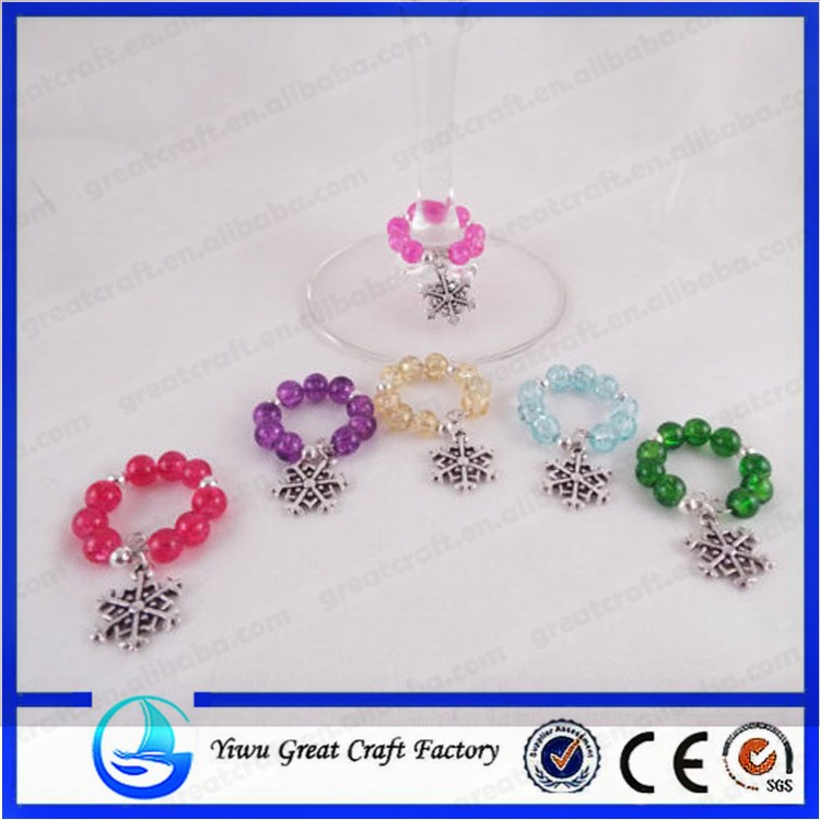 Set of 6 Snowflake Themed Wine Glass Charms