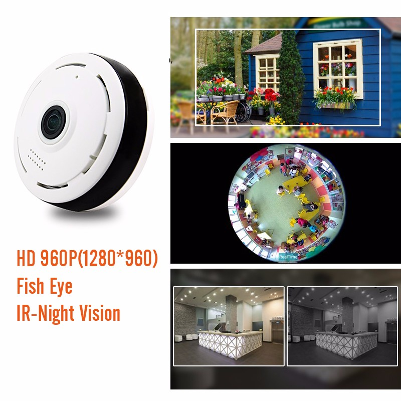 Two way audio 1.3MP VR 360 degree Panoramic Wifi Wireless IP Camera