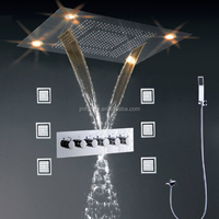Wall Mounted Shower Set Faucet Multi Color Remote Control LED Over Head Shower With 5 Way Hot/Cold Diverter