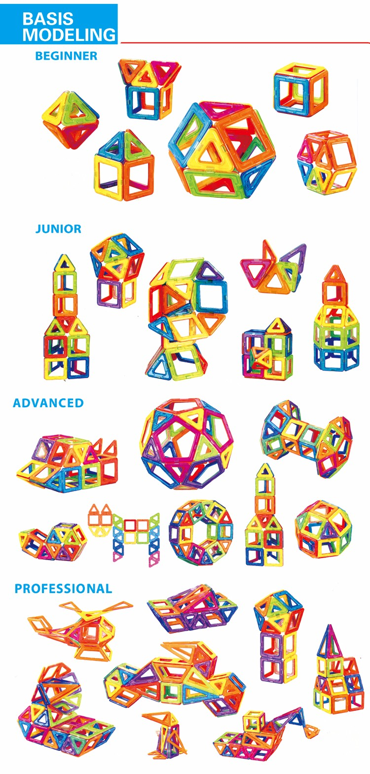 ABS plastic magformers children's magnetic diy building blocks