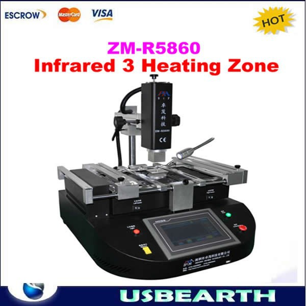 2015 Hot sale bga vga repair machine for laptop motherboard ZM-R5860 3 independent heating Infrared BGA Rework Station