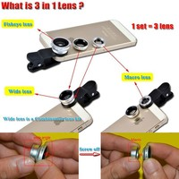 3 in 1 Universal Fish Eye Rear Camera Lens Replacement