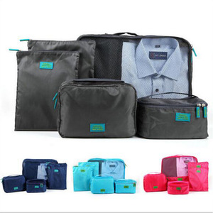 New Arrival Travel Clothing Organizer Bag Set 6PCS Storage Mesh Pouch Colorful Cosmetic Bag luggage bag