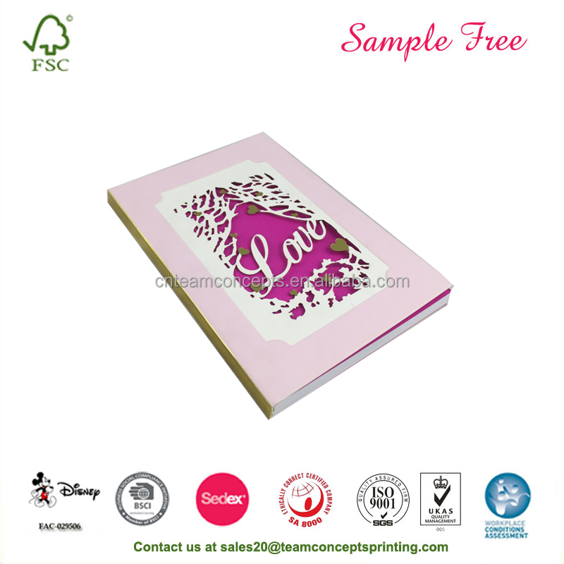 Customized Pink Cover Notebooks With Laser cutting Word