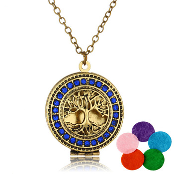 Hot Antiallergic Surgical Stainless Steel Tree of Life Essential Oil Diffuser Locket Necklace