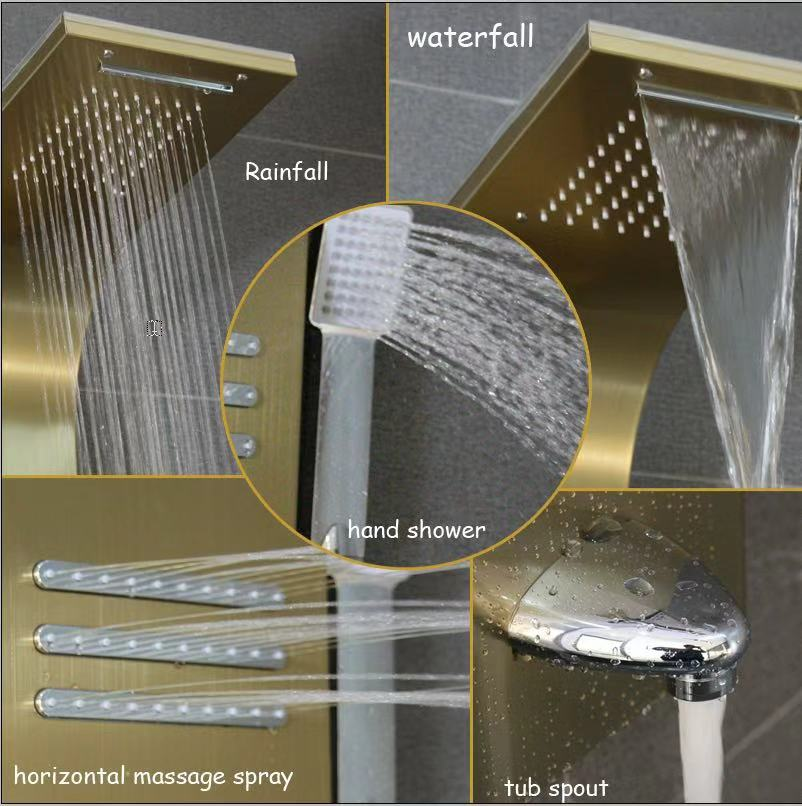 Black cupc aluminium bathroom massage waterproof wall shower panel