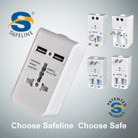 SAFELINE universal travel adapter with 2 connessioni USB and surge protection CE certificate