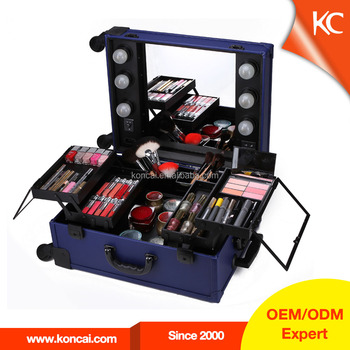 Aluminum Cosmetic Case with mirror Professional aluminum lighted makeup case