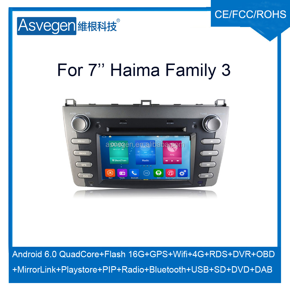 Wholesale Android Car DVD Player For 7'' Haima Family 3 Support Radio Wifi Playstore With Auto Spare Parts Car