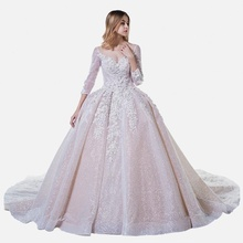 Luxury Wedding Dress Bridal Gown Latest Designs 3D Flower Glitter Tulle Wedding Gowns With Sleeves