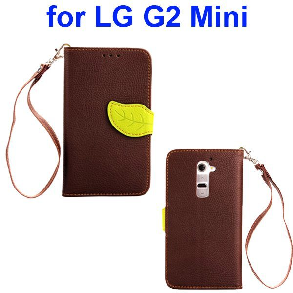 Lichee Texture Leaf Magnetic Closure Wallet Flip Cover Leather Case for LG G2 Mini
