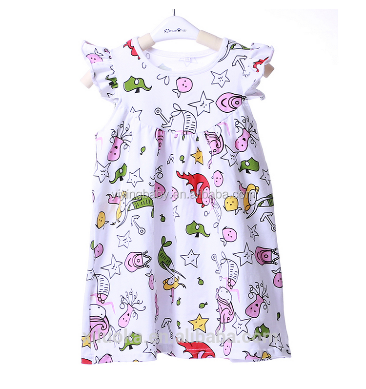 2016 Fashion icing ruffle party lovely dress baby girls cotton dress