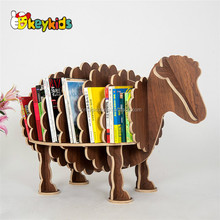 Wholesale decorative wooden sheep shape art book shelf used in coffee shop and bookstore W08D070