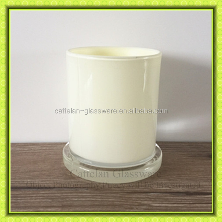 Milk colored spray coloring glass candle holder,glass jar for candle making,for home decoration