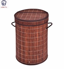 Coffee Bamboo Decoration Washable Laundry Hamper With Lid