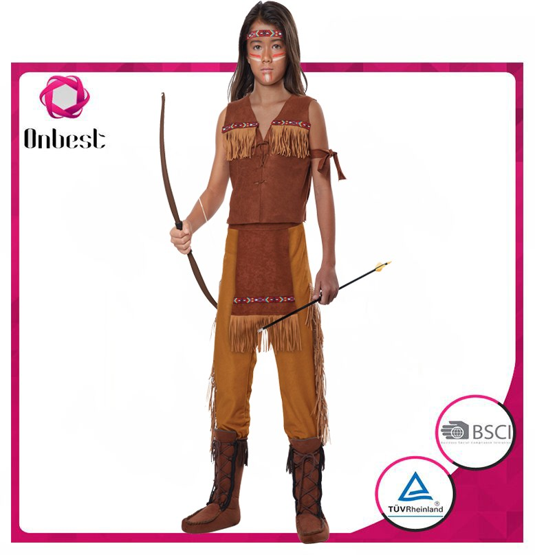 Girls native American Indian costume archer dress solider costume in stock