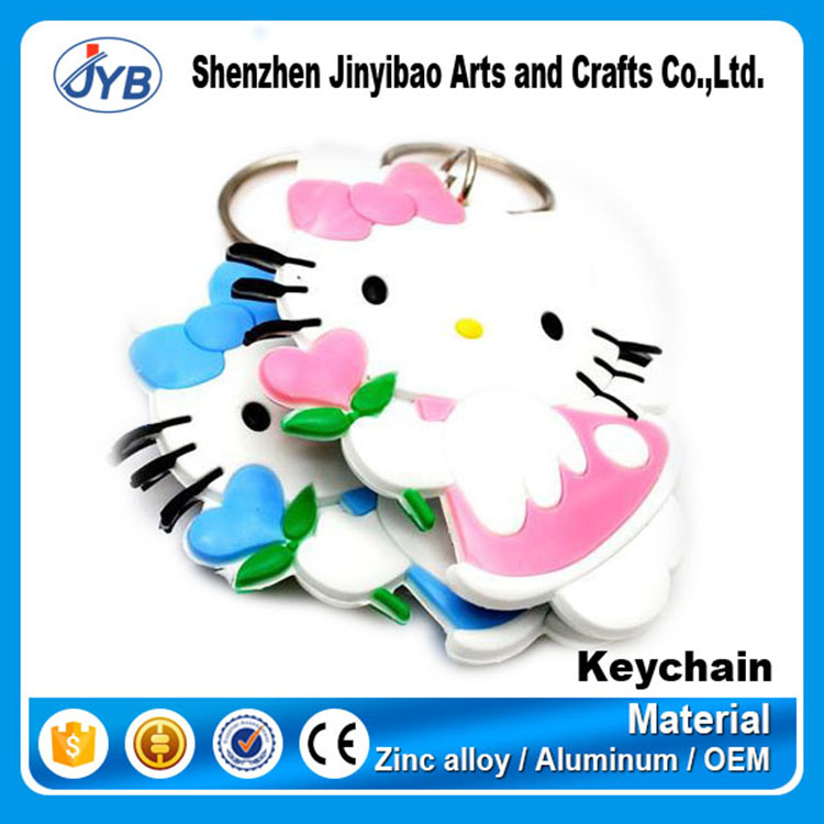 custom innovative hello kitty shaped soft rubber pvc key chain