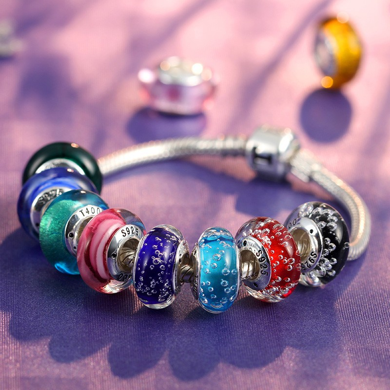 2016 Colorful Murano Glass/Glaze Charms and Beads! T400 925 Silver Beaded Bracelet, Jewelry Accessories #QT058