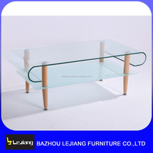 home designs wooden legs tempered glass top coffee table