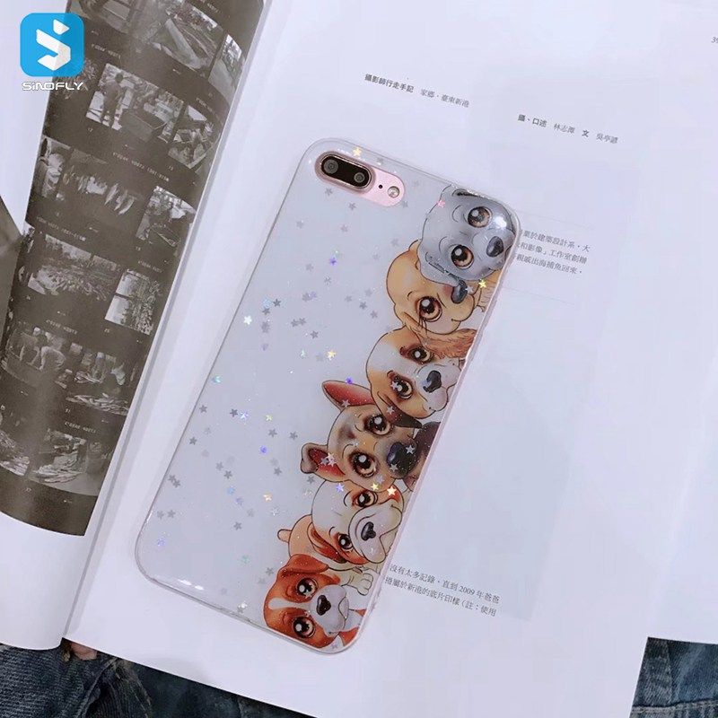 Phone Cover Bling Dog Printed Case for iPhone 7 8 Plus
