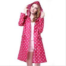 DM 797 Long Polka Dot Polyester Raincoat With Pocket Women's Hooded Raincoat