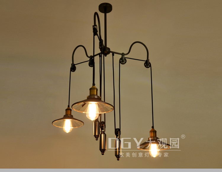 black artistic height adjustable american industrial vintage pendant loft lamp