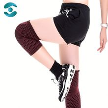 Red With Black Prevent Sport Injury Bamboo Magnetic Knee Guard