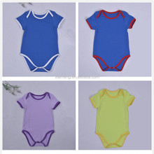 wholesale 100% organic cotton unisex boutique infant outfits plain colour baby romper