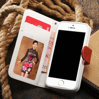 Cheaper Cabvas +Leather + plastic cell phone case for iphone 5, wallet typle deisgn case for iphone 5