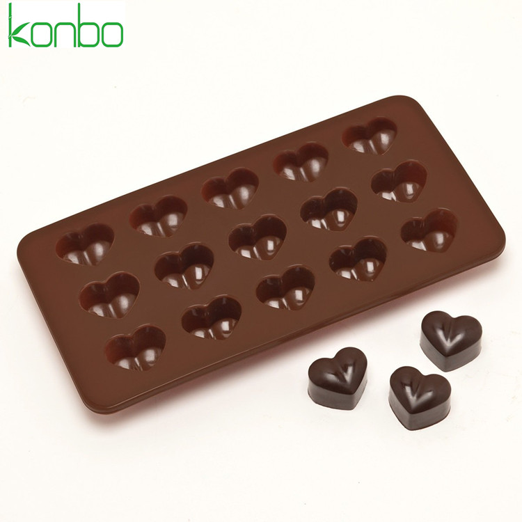 15 cavities custom heart shape toblerone silicone 3D chocolate mold bar mould tray fondant candy tools