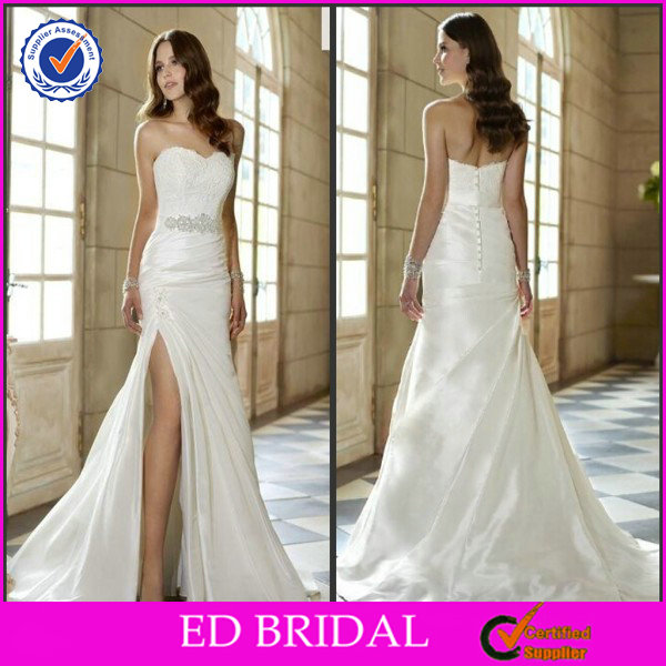 2014 A-Line White Cream Satin Sexy Front Slit Wedding Dresses