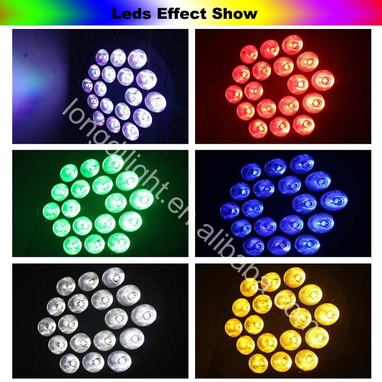 high brightness 18pcs 10w 6in1 led par nightclub lighting, slim led par 64